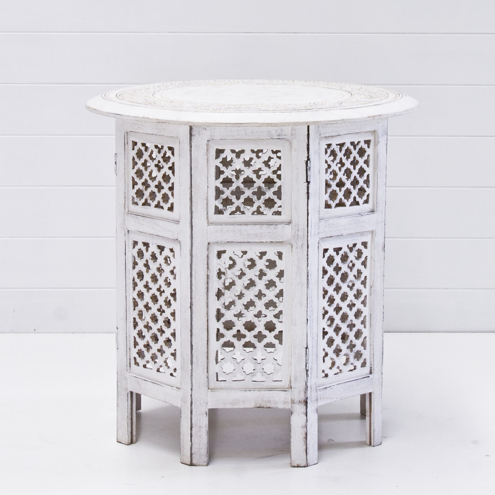 White Boho Side Table