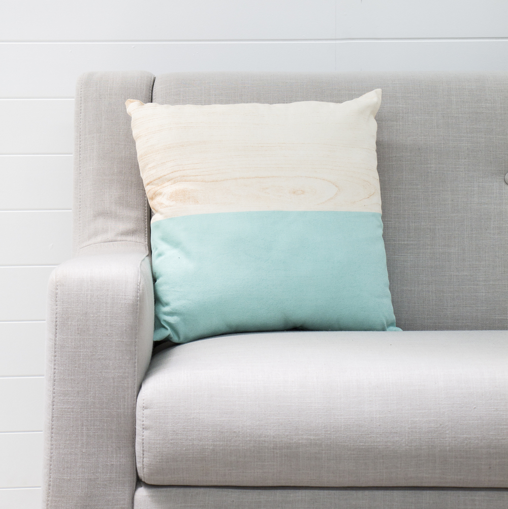 Two Toned Aqua Cushion