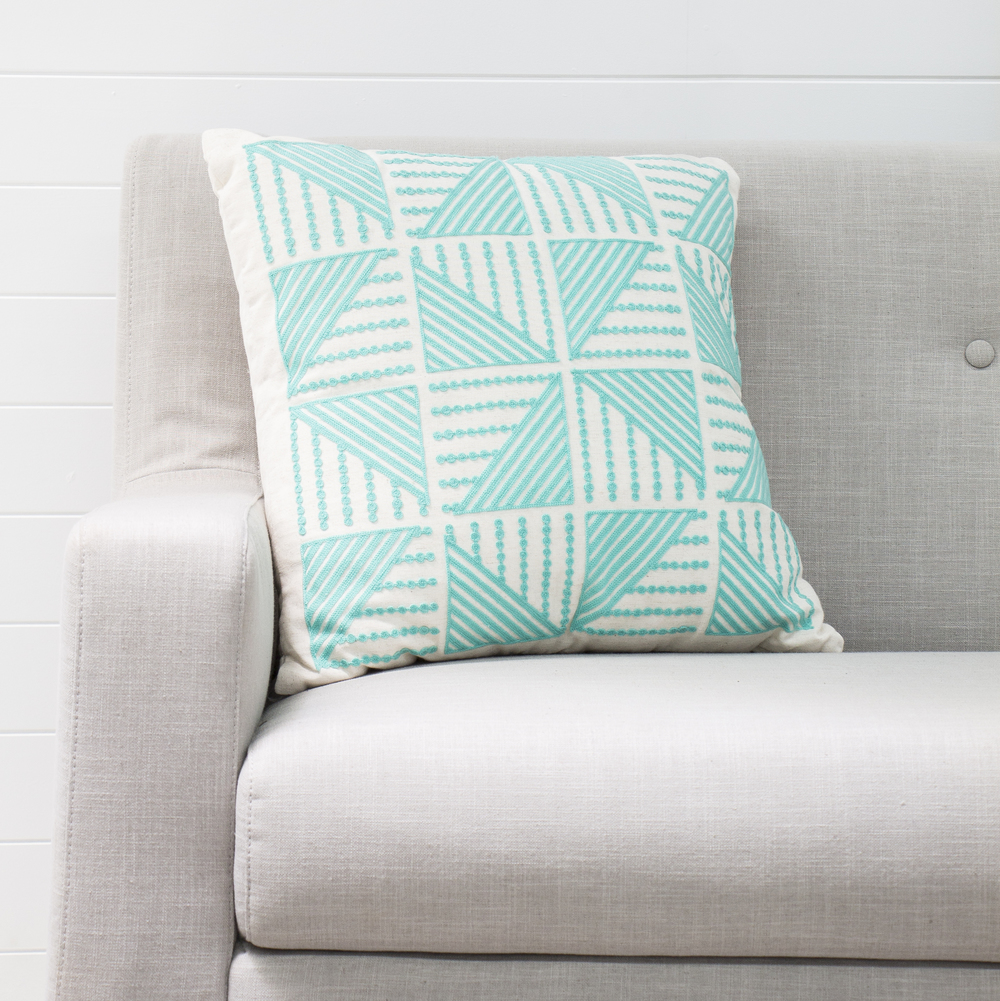 Aqua and White Cushion