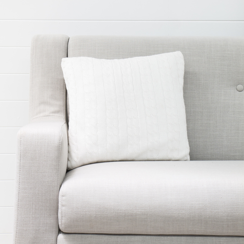 Knitted White Cushion