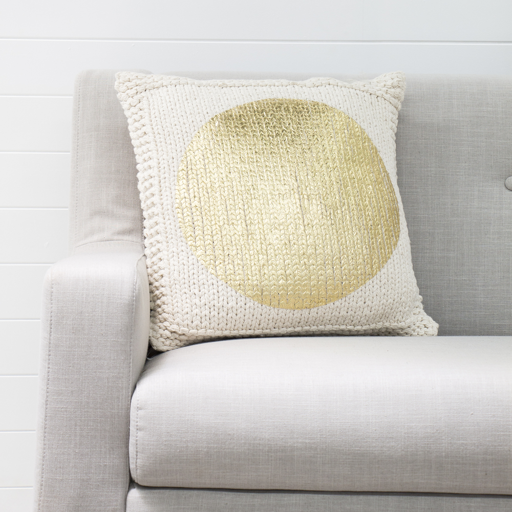 Gold Knitted Cushion