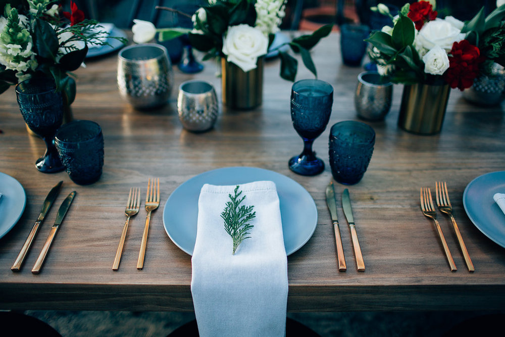 Hampton Event Hire - Wedding and Event Hire | Christmas Table Styling Inspiration at Osteria Casuarina | Blue Glassware and Gold Cutlery | www.hamptoneventhire.com | Photo by Figtree Pictures