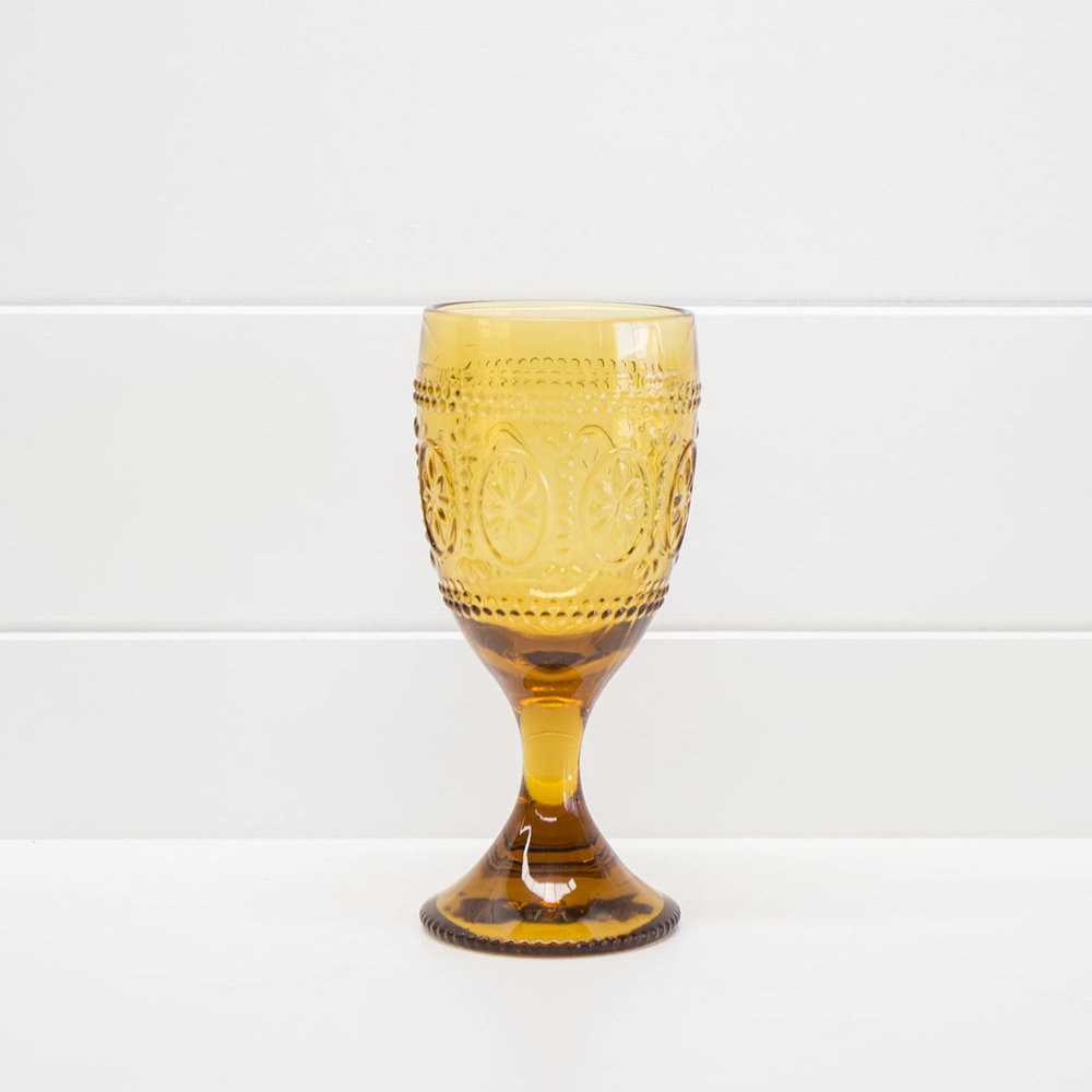 DECORATIVE AMBER WINE GLASS