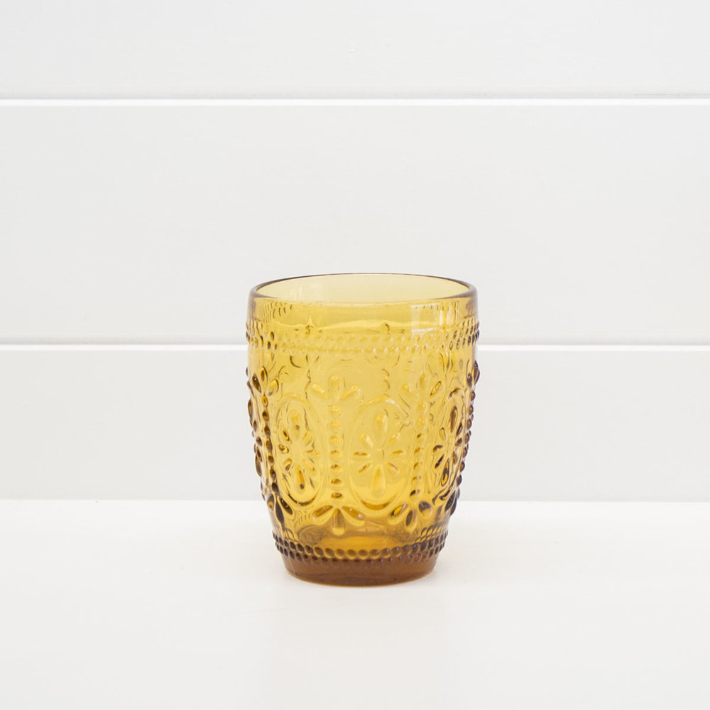 DECORATIVE AMBER WATER GLASS