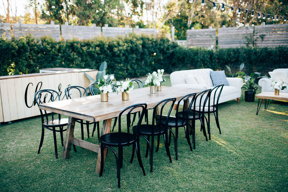 Hampton Event Hire - Wedding and Event Hire | Styled Shoot at Osteria Casuarina - Black Bentwood Chairs and Feasting Tables | www.hamptoneventhire.com | Photo by Figtree Pictures