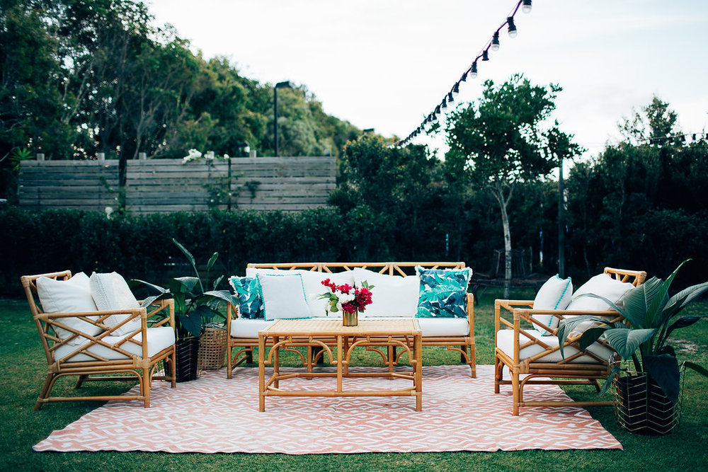 Hampton Event Hire | www.hamptoneventhire.com | Bamboo sofa furniture | Byron Bay, Brisbane and Gold Coast Wedding Hire |