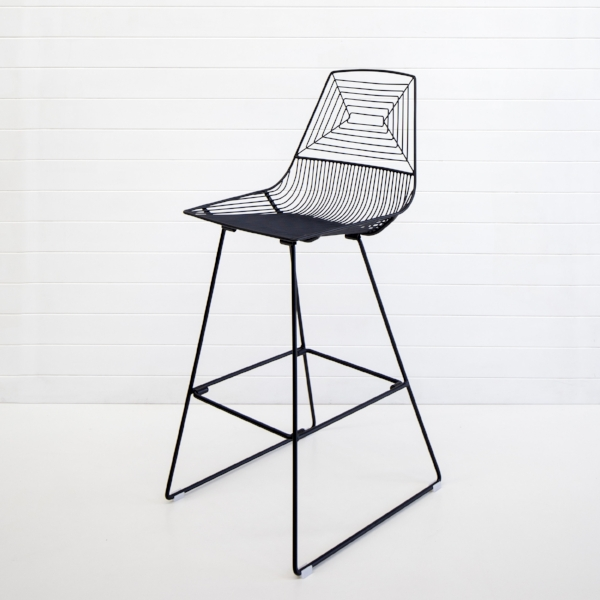 BLACK SOHO WIRE STOOL