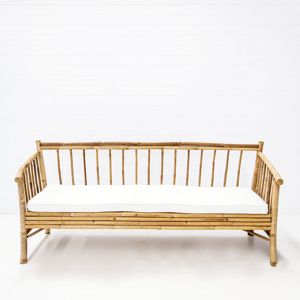 Bahamas Bamboo Sofa with White Seat Cushion