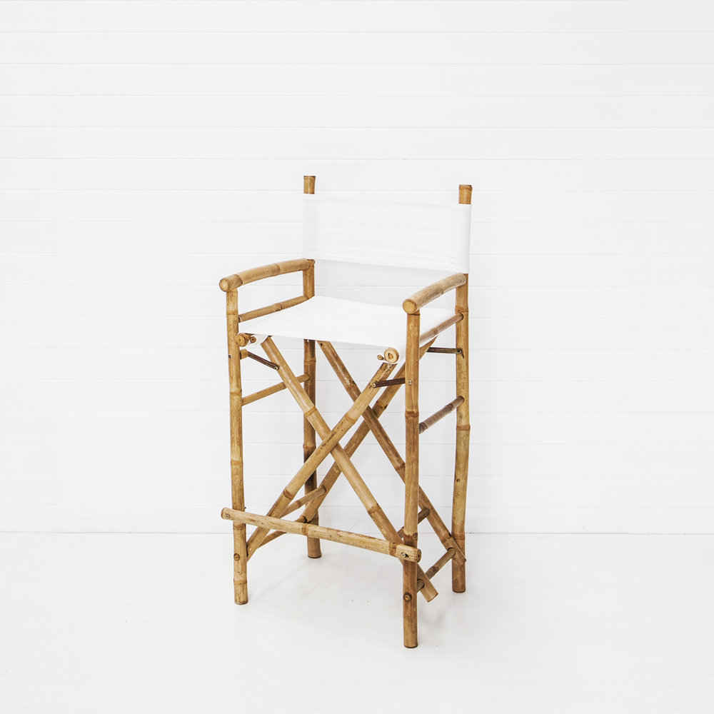 Bahamas Bamboo Directors Stool with White Seat