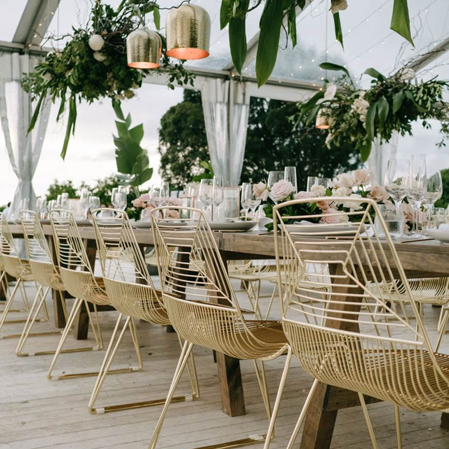 Gold wire event chairs