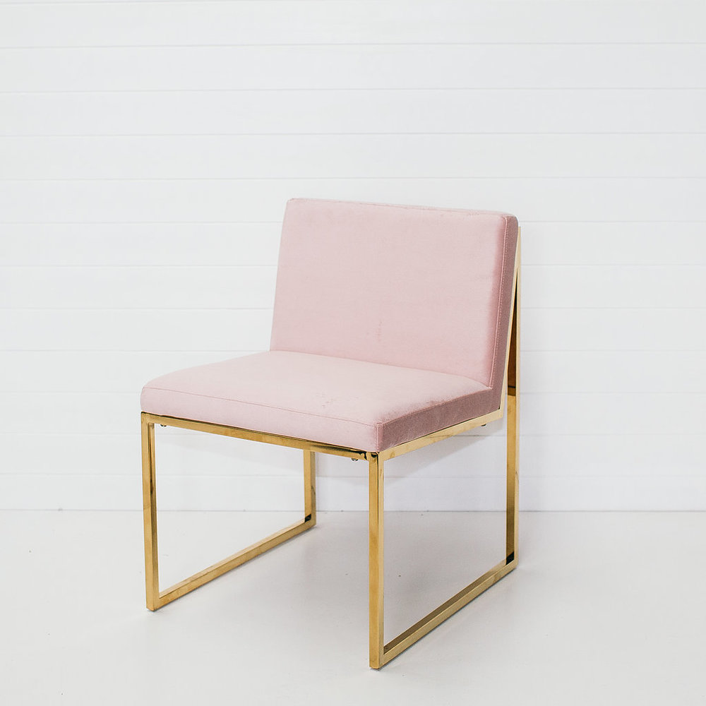 Blush Pink Velvet Chair Without Arms