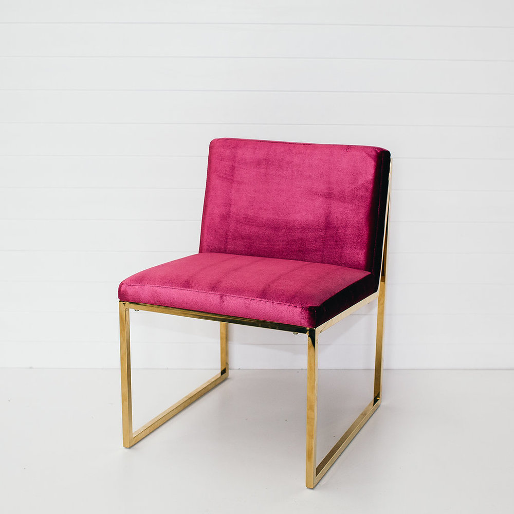 Magenta Velvet Chair Without Arms