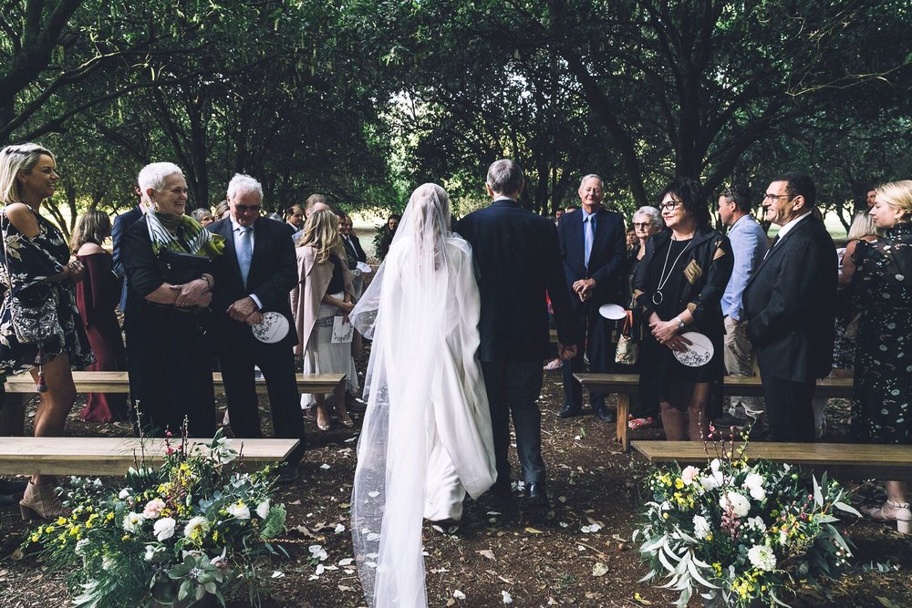 The Farm Byron Bay Wedding | Hampton Event Hire | Photo by Kate Holmes | Ceremony bench seats