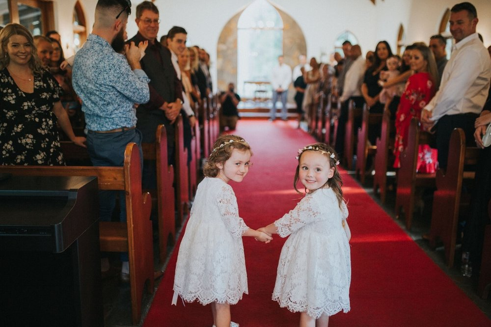 Melissa and Adam Coolibah Downs Wedding | Hampton Event Hire | Photo by White Fox Studios | flowergirls