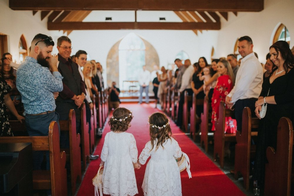 Melissa and Adam Coolibah Downs Wedding | Hampton Event Hire | Photo by White Fox Studios | flower girls