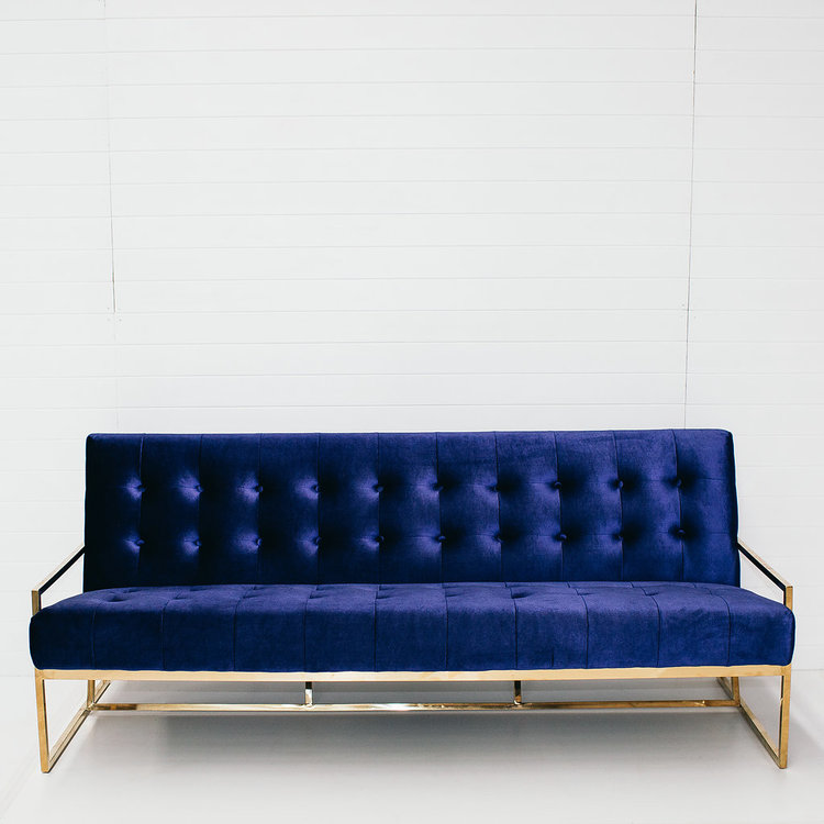 VELVET NAVY 3-SEATER SOFA