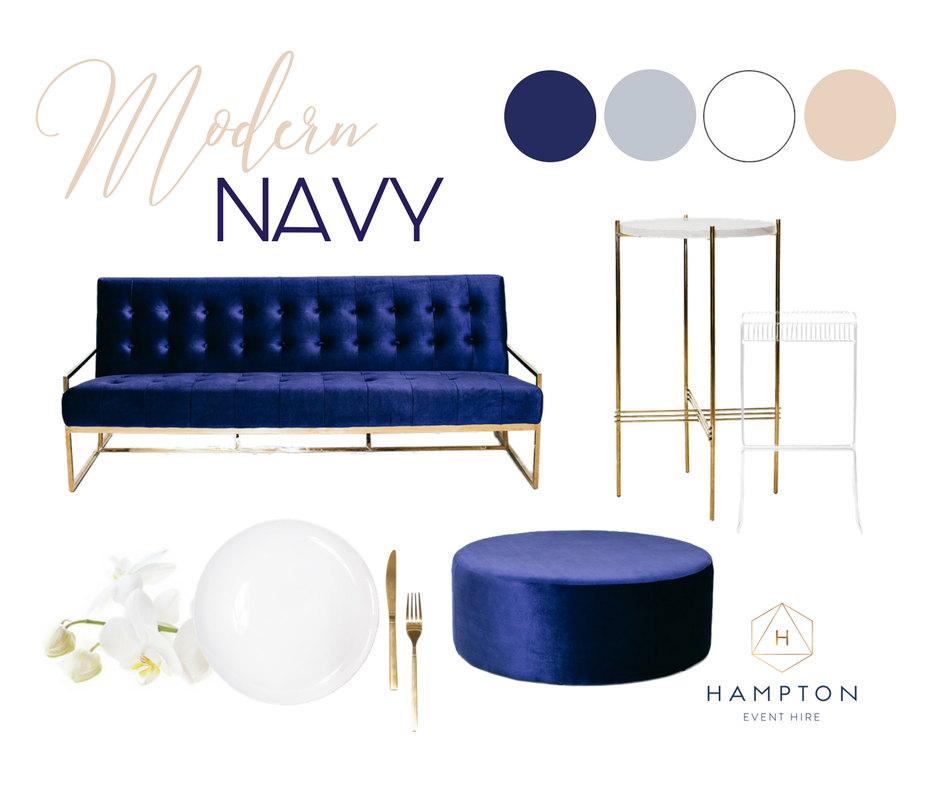 Modern Navy Wedding Inspiration and Ideas | Mood Board | Hampton Event Hire - wedding and event hire | Photo by Figtree Pictures