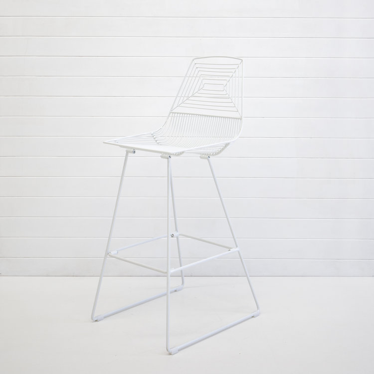 WHITE SOHO WIRE STOOL