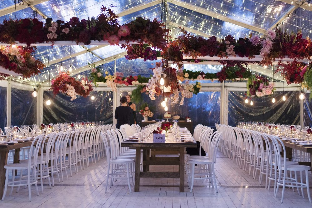 Kathryn and Dylan's marquee wedding reception in Brisbane, with Hampton Event Hire