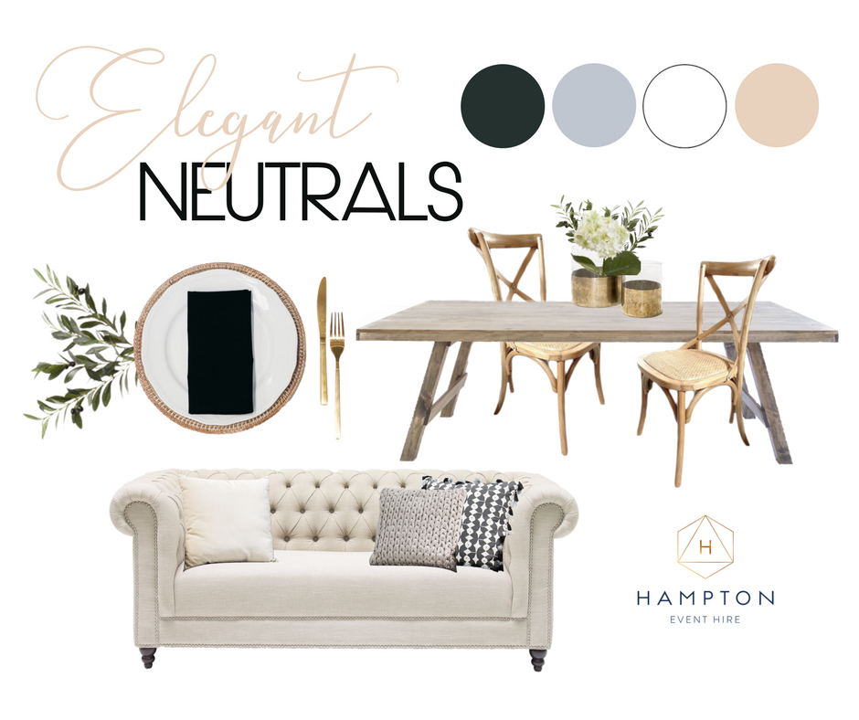 Elegant Neutral Wedding Styling Mood Board with Hampton Event Hire, Gold Coast Wedding Hire