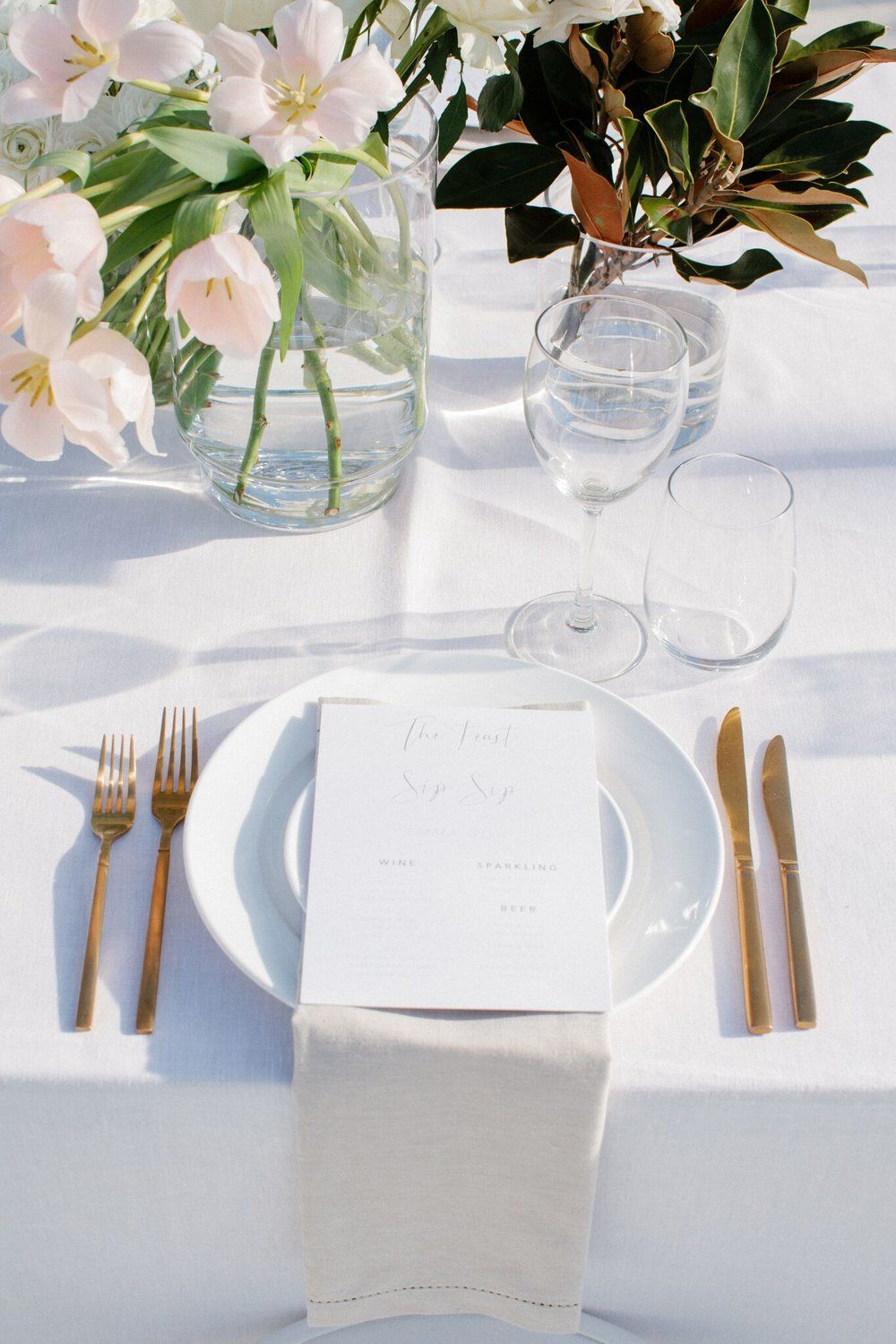 Wedding Tableware Hire Checklist - Crockery and Gold Cutlery - Image via Brooke Adams