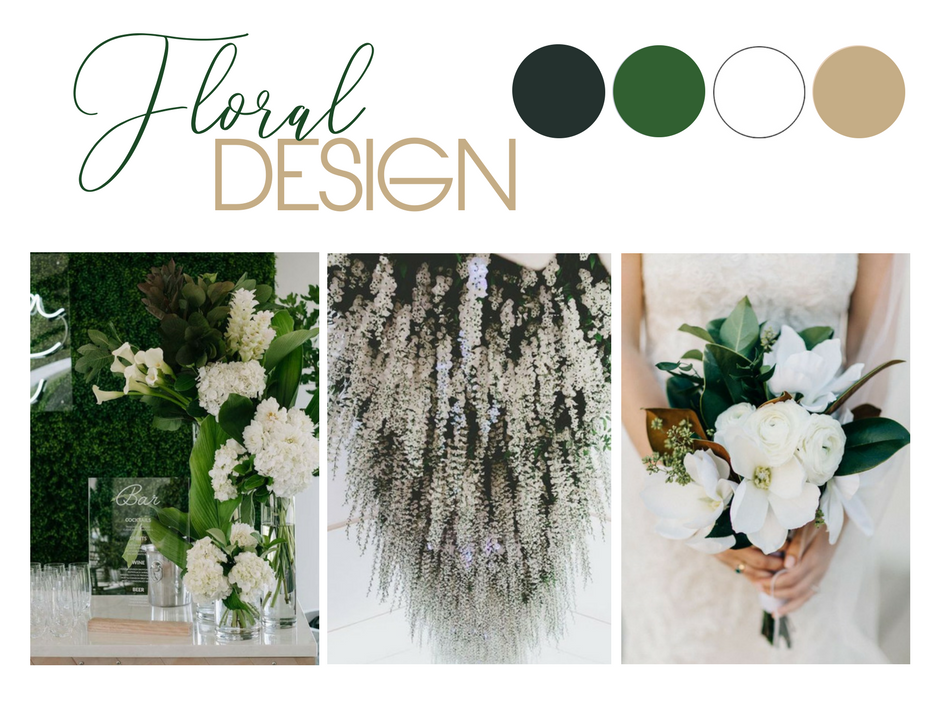 Green & Gold Wedding Styling Inspiration: Image 1 via  Lucas & Co  / Image 2 via  Hobbs & Eames  / Image 3 via  M. K. Sadler