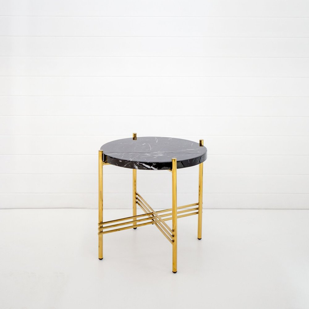 GOLD ICELANDIC SIDE TABLE WITH BLACK MARBLE