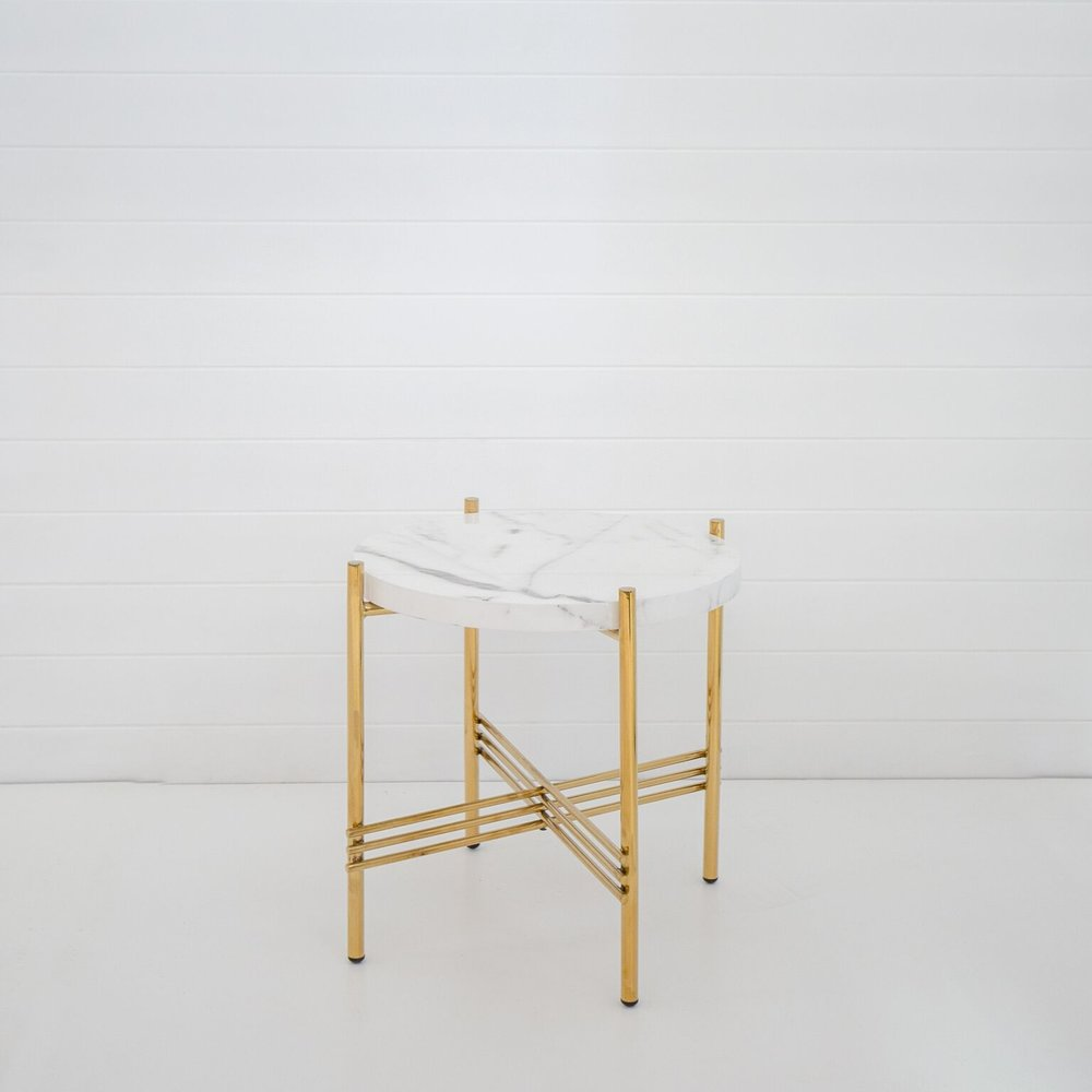 GOLD ICELANDIC SIDE TABLE WITH WHITE MARBLE