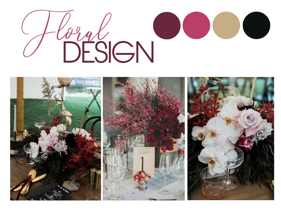 Image 1+3: Bek Smith Images, Florals by Bloodwood Botanica / Image 2: Chaz Cruz Photography
