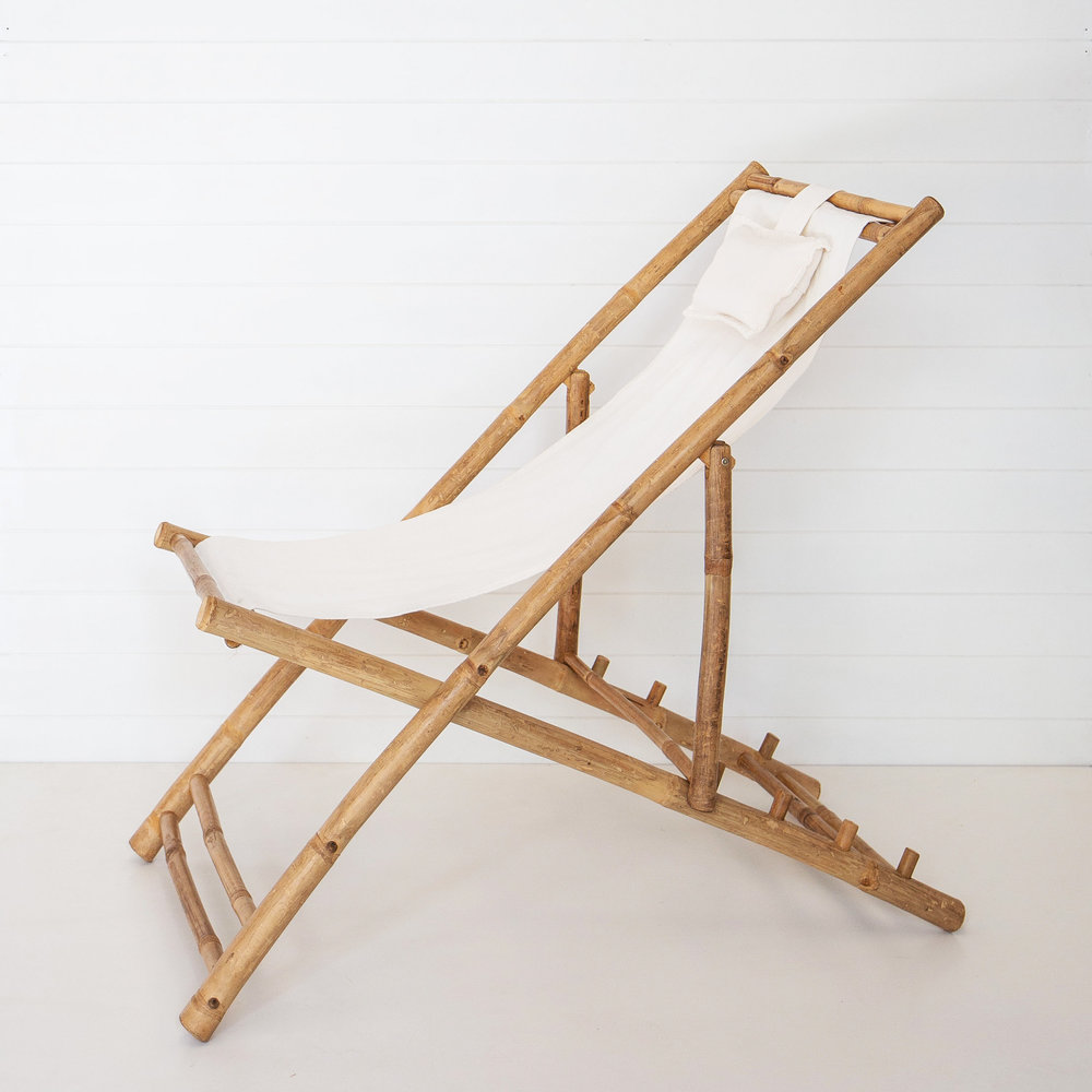 WHITE BAMBOO DECK CHAIR