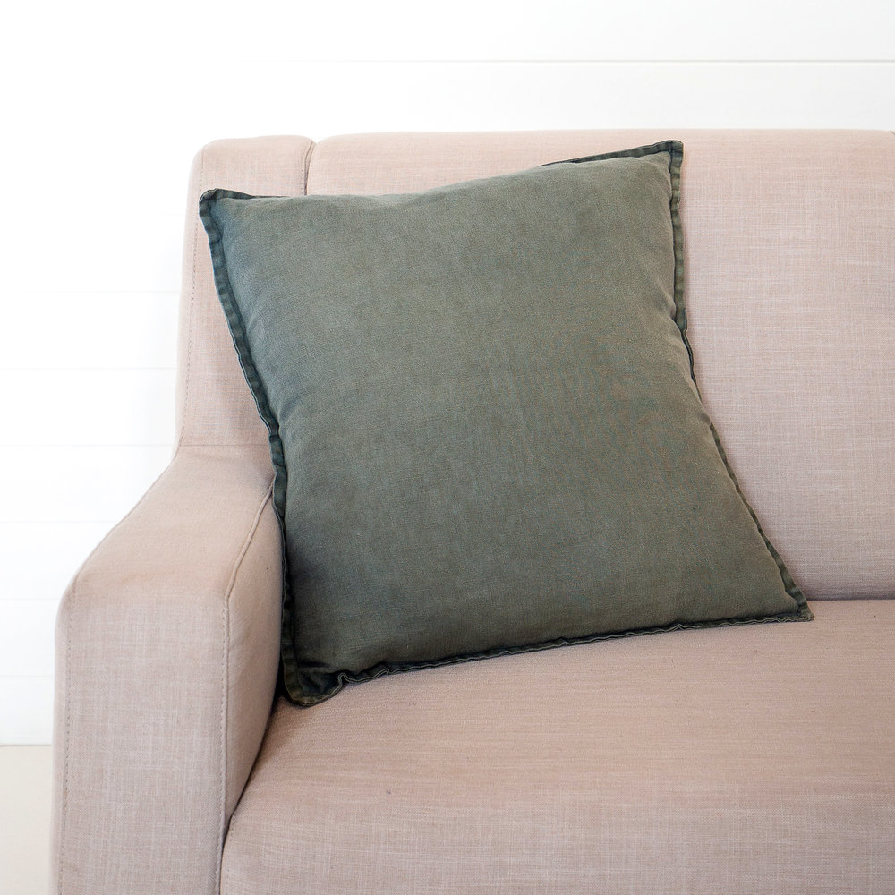 Stonewashed Linen Forest Cushion