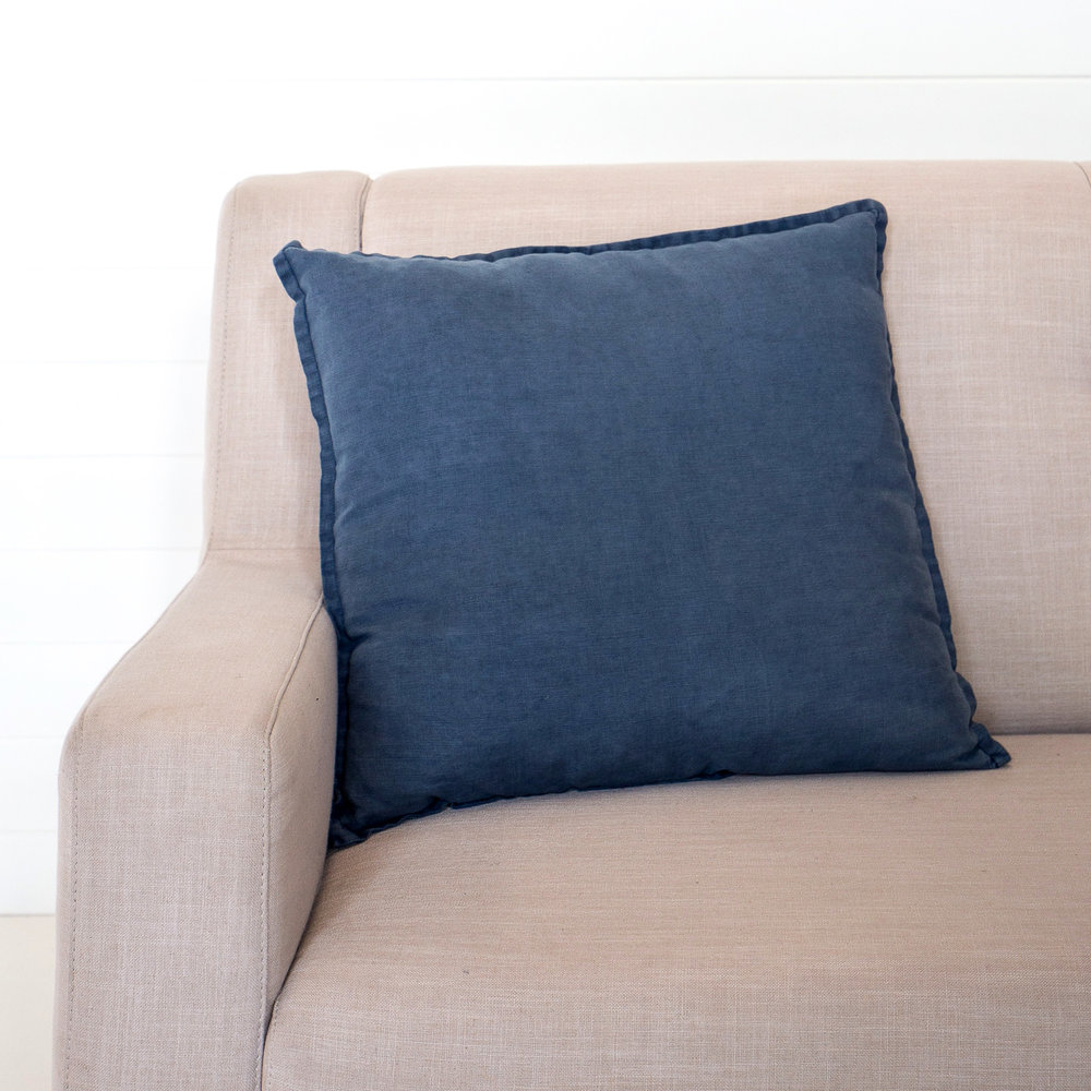 Stonewashed Linen Blue Ink Cushion