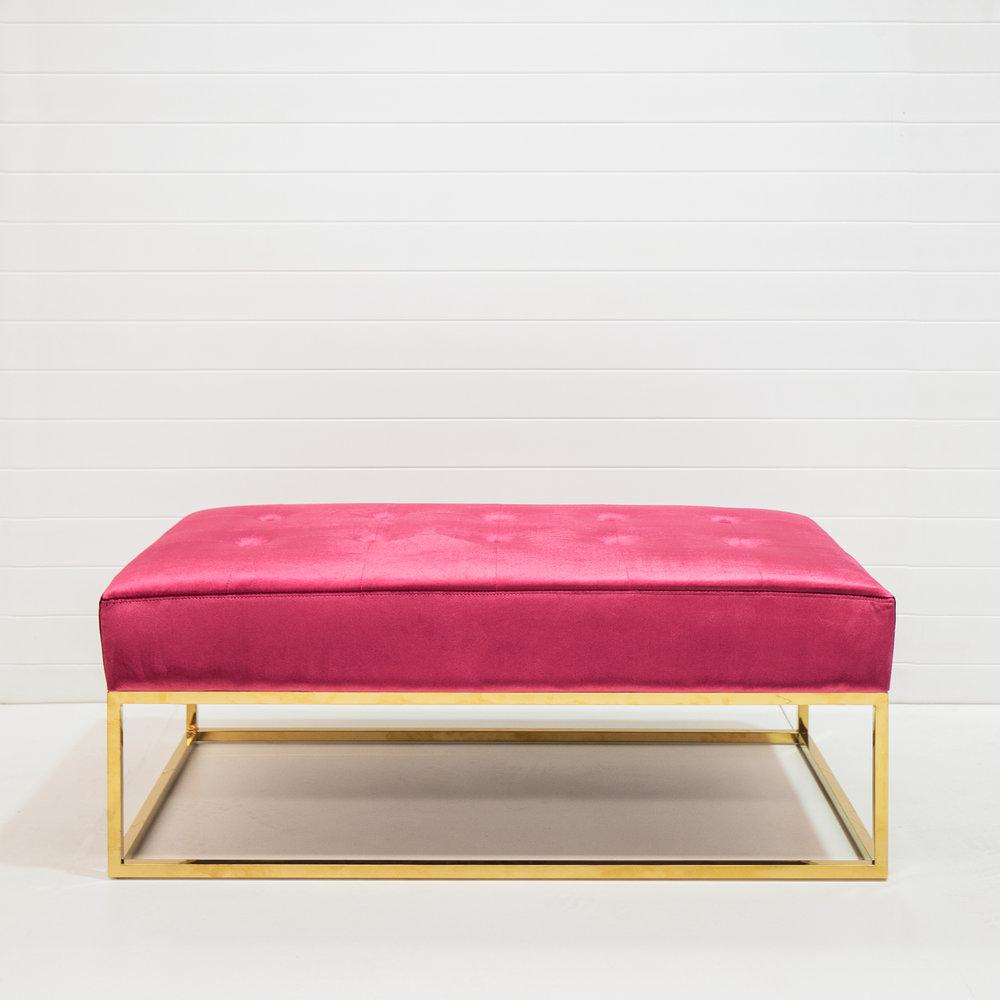 Magenta velvet bench ottoman