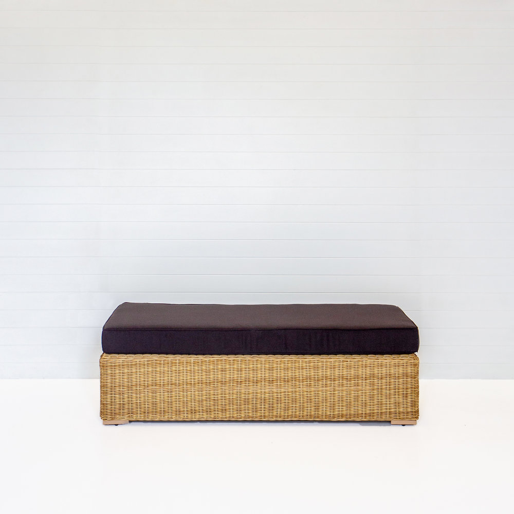 Dune Bench Ottoman With Black Cushions