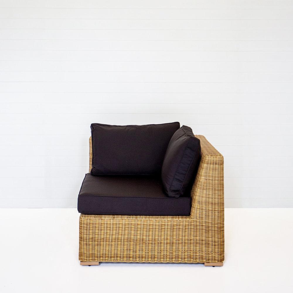Dune Corner Modular Sofa (No-Arms) With Black Cushions