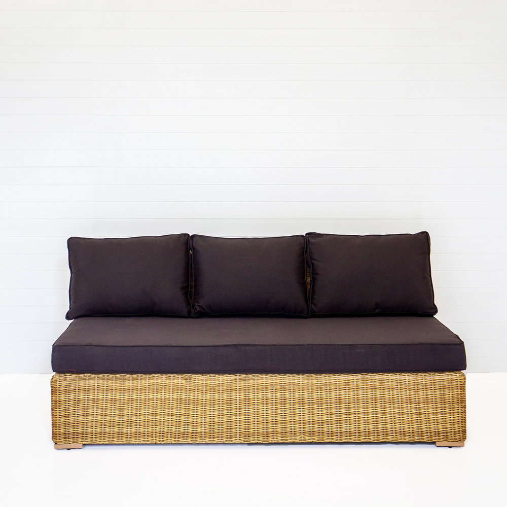 Dune Three Seater Modular Sofa (No Arms) With Black Cushions