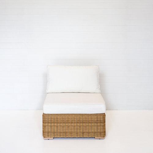 DUNE SINGLE SEAT MODULAR LOUNGE WITH WHITE CUSHIONS