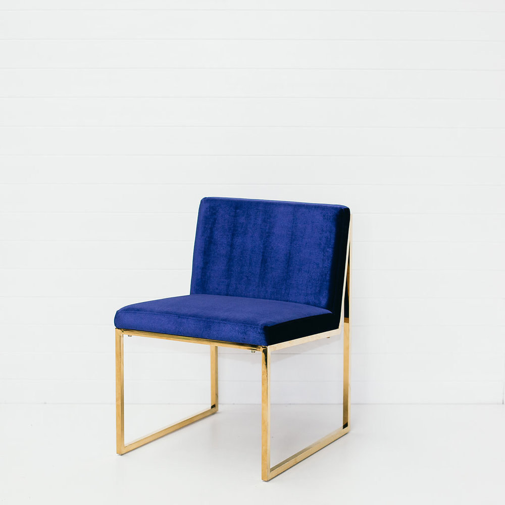 NAVY VELVET CHAIR (WITHOUT ARMS)
