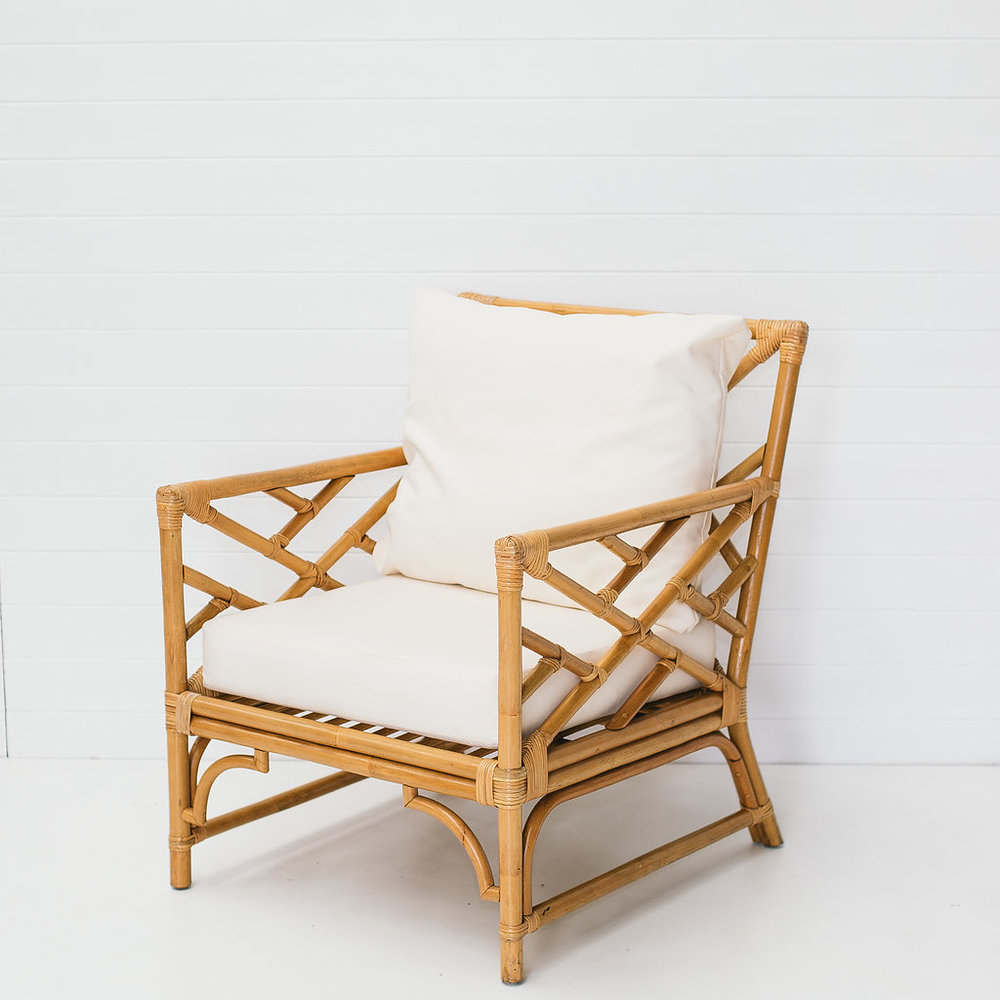 Natural armchair with cushions