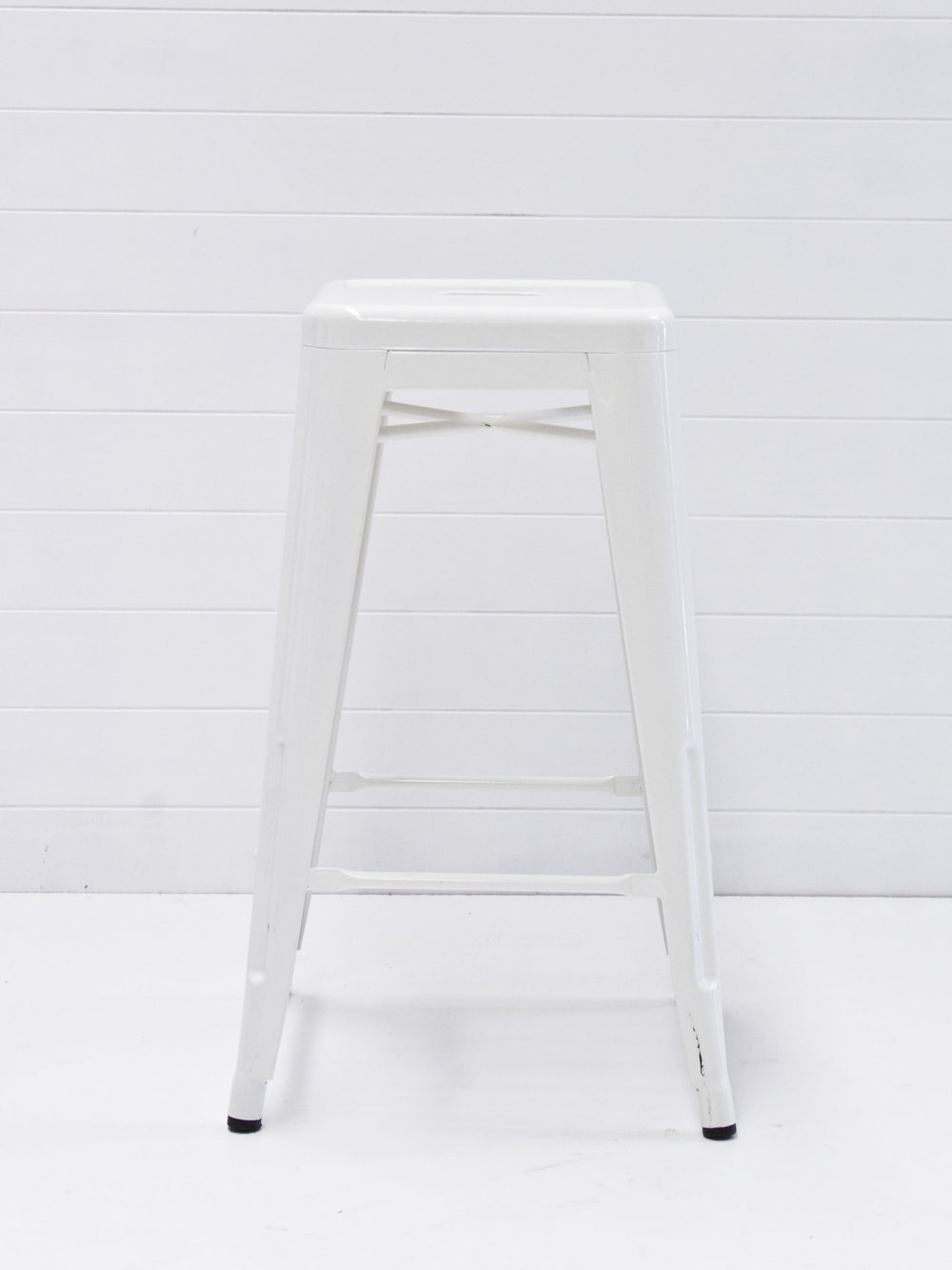 White tolix bar stools
