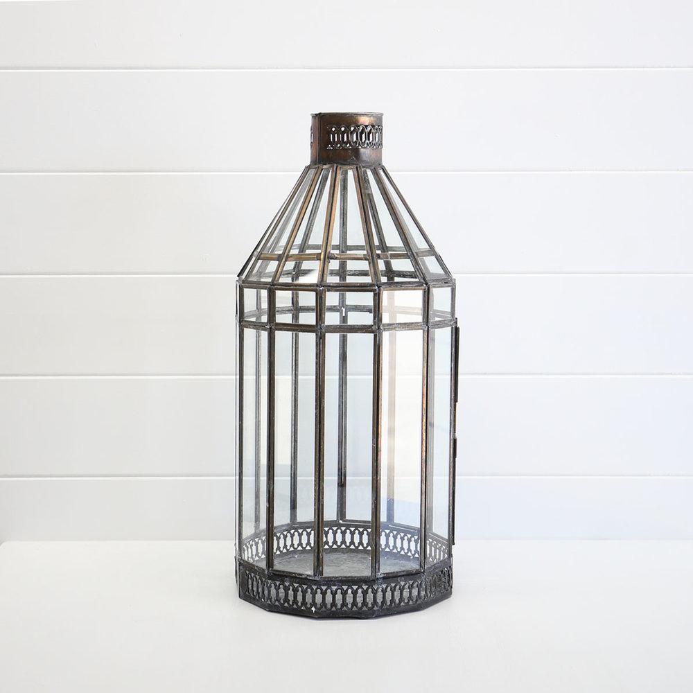 Large bronze Moroccan lantern