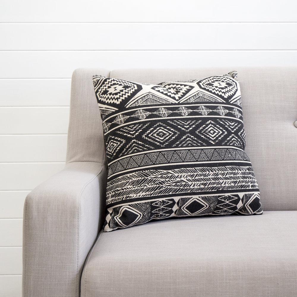 Tribal black and white cushion