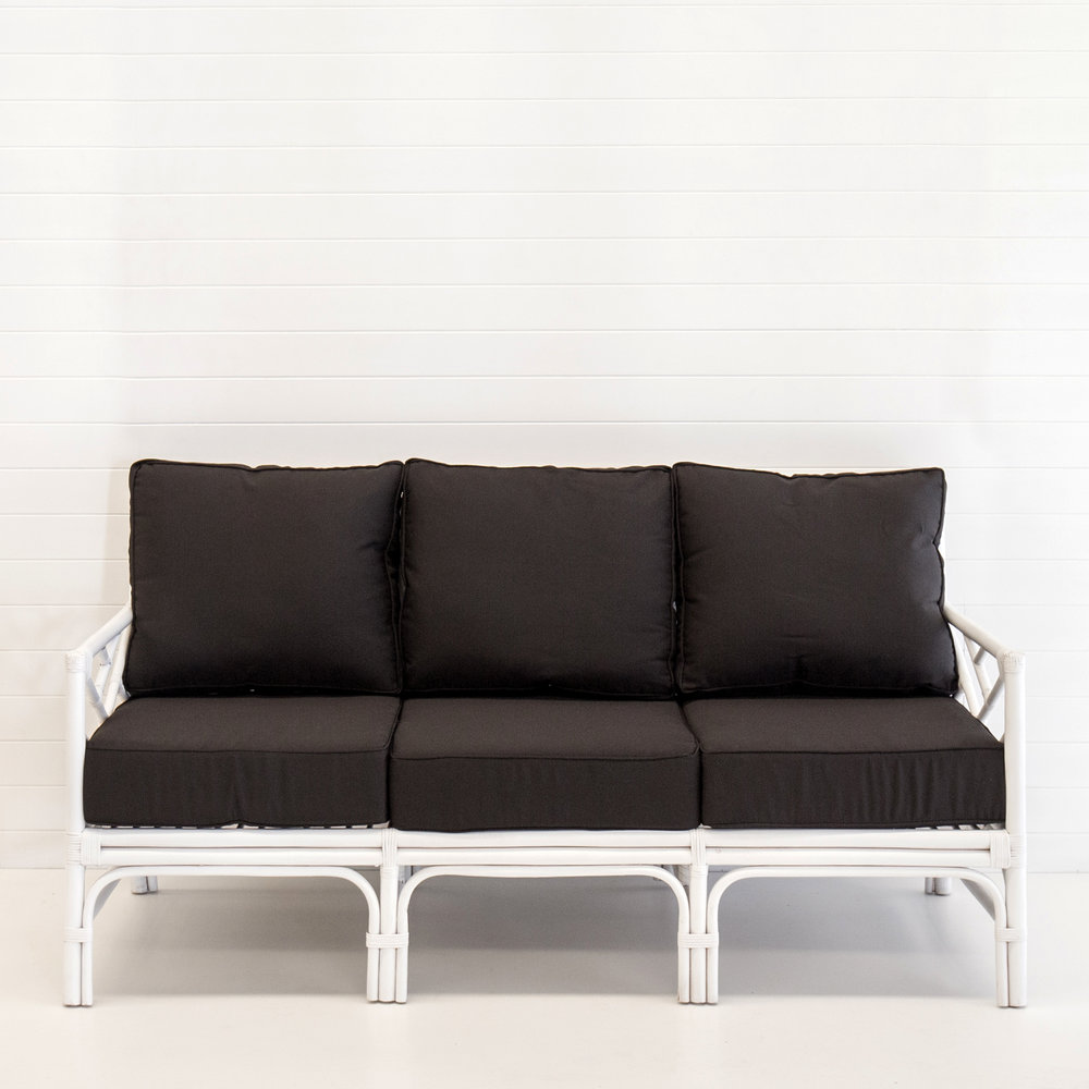Hamptons white 3-seater sofa (with black cushions)