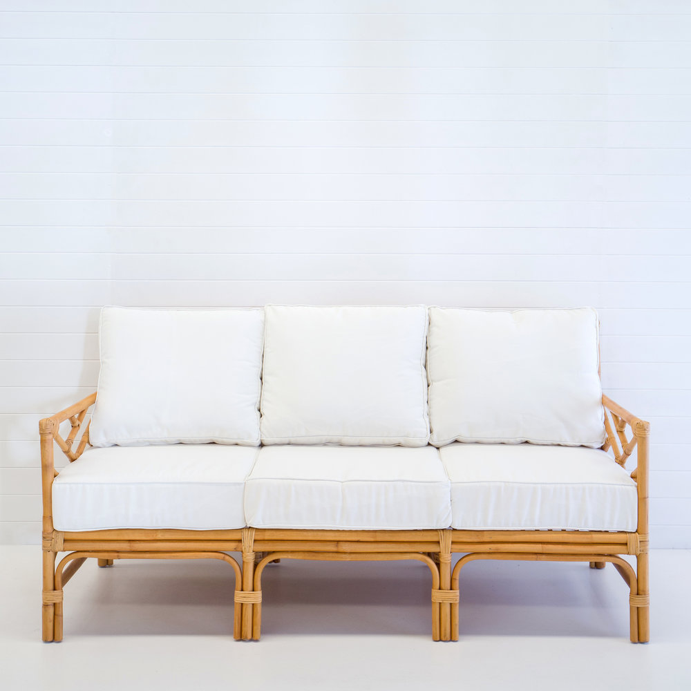 Hamptons natural 3-seater sofa (with white cushions)