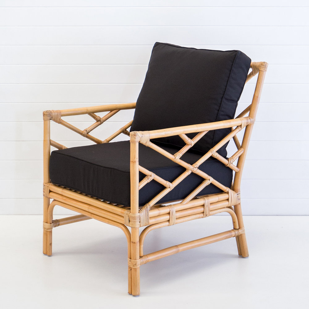 Hamptons natural armchair with black cushions