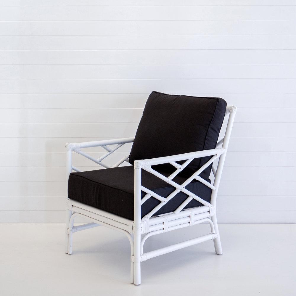 Hamptons white armchair with black cushions