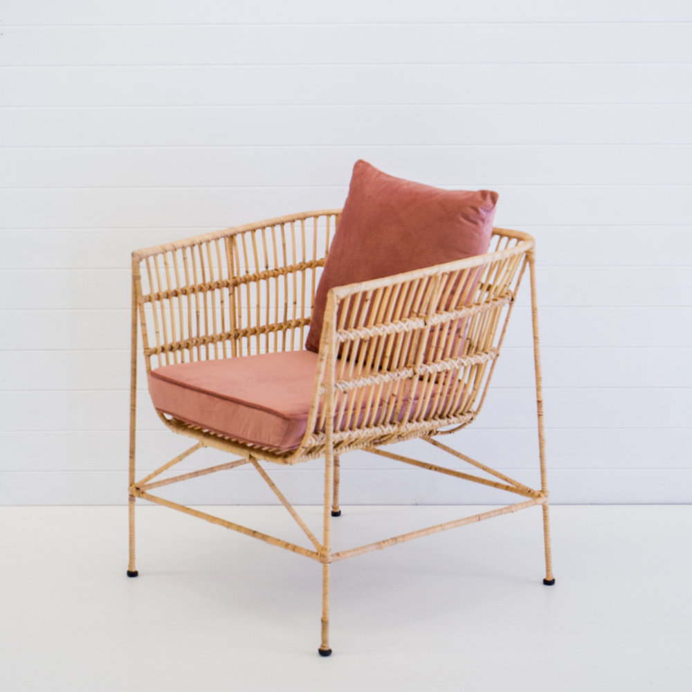 INDIE NATURAL ARMCHAIR WITH DUSTY PINK CUSHIONS