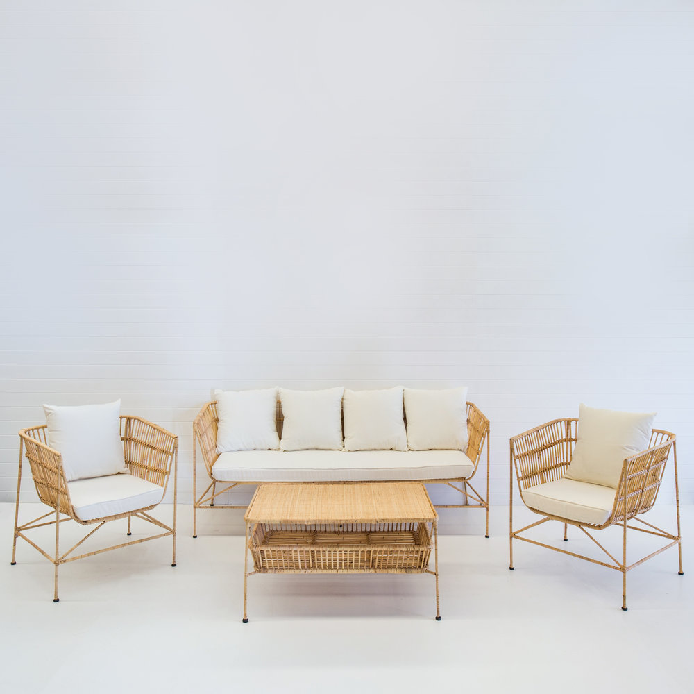 INDIE NATURAL SOFA PACKAGE WITH WHITE CUSHIONS