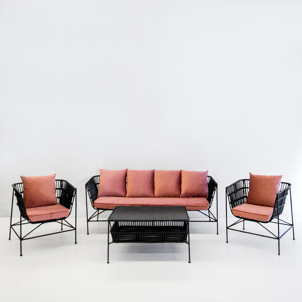 INDIE BLACK SOFA PACKAGE WITH DUSTY PINK VELVET CUSHIONS