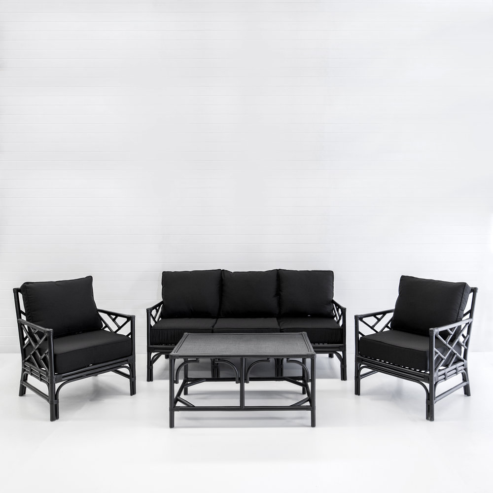 HAMPTONS BLACK SOFA PACKAGE WITH BLACK CUSHIONS